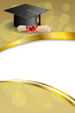 Fototapety Background abstract beige education graduation cap diploma red bow vertical gold ribbon illustration vector