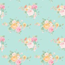 Vintage Flowers Background - Seamless Floral Shabby Chic Wzór