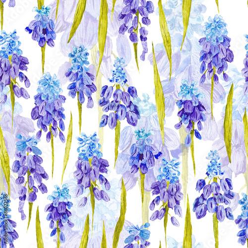 Fototapeta Vintage Watercolor Pattern with Purple Provence Flowers