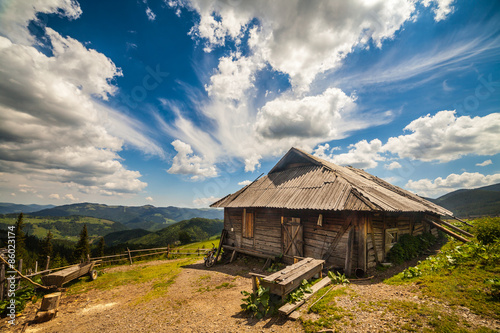 Old wooden traditional house in the mountains
