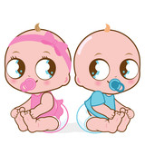 Cute baby girl and boy