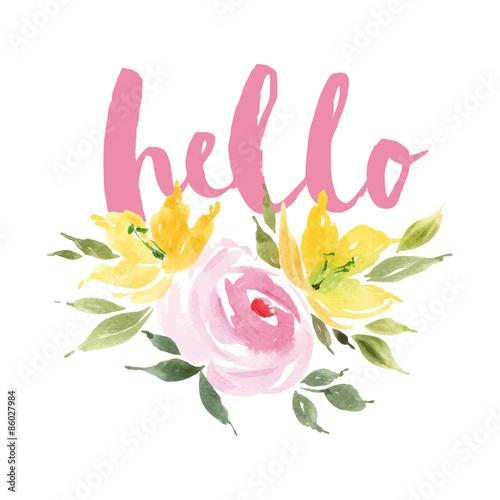 Greeting card flowers. Watercolor. - 86027984
