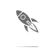 Fototapety Start Up Symbol Space Rocket Ship Sky on white background