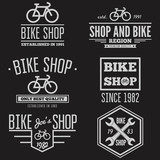 Set of vintage and modern bicycle shop logo badges or labels