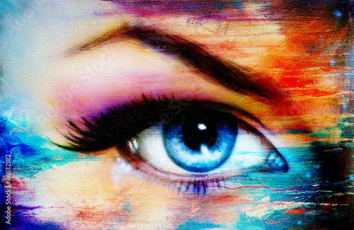 Blue woman eye with violet and pink day makeup. Color painting - 86032182