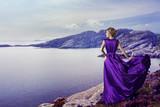 Fototapety Woman Purple Dress, Mountains Sea, Elegant Girl on Coast, Waving Gown