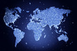 Blue backbround with world map and lights in the night