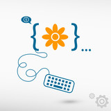 Pictograph of flower and flat design elements poster