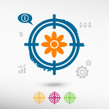 Pictograph of flower on target icons background. poster