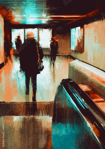 digita painting showing rear view of city people urban scene abstract background - 86052777