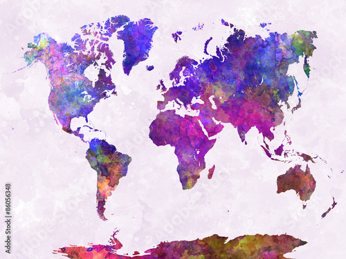Poster World map in watercolor purple warm