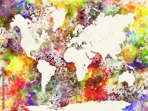 Juliste World map in watercolor abstract background