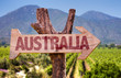 Quadro Australia wooden sign with winery background