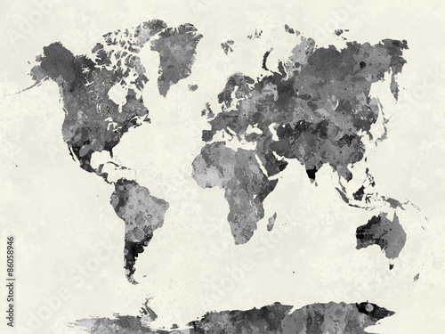 World map in watercolor gray © paulrommer