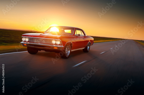 Fototapety, obrazy : Retro car speed drive on road