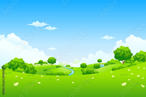 Fotobehang Lime groen Green Landscape with trees