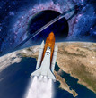 Space shuttle rocket launch spaceship Earth saturn planet. Elements of this image furnished by NASA.