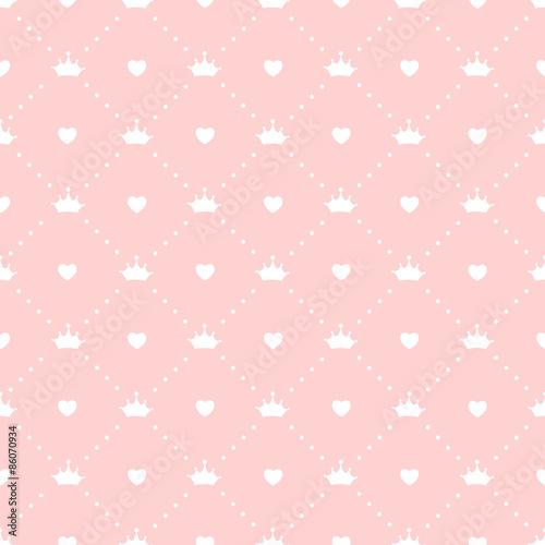Fototapeta Princess Seamless Pattern Background Vector Illustration
