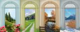 Fototapety Collage Vier Jahreszeiten 8 - mediterrane Landschaft, Sommerweg,