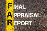 Business Acronym FAR as Final Appraisal Report poster