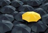 Fototapety Yellow umbrella among dark ones