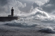 Storm waves over the Lighthouse, Portugal - enhanced sky