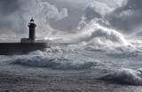 Fototapety Storm waves over the Lighthouse, Portugal - enhanced sky