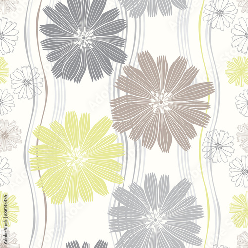 Tapeta Seamless vector pattern with abstract flowers.