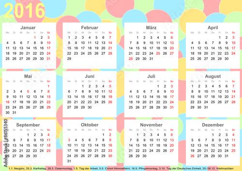 kalender 2016 hintergrund mit bunten kreisen jeder monat auf wei en quadraten und mit. Black Bedroom Furniture Sets. Home Design Ideas