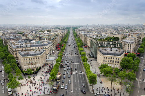 Fototapeta View of the Champs Elysees from the Arc de Triomphe in Paris