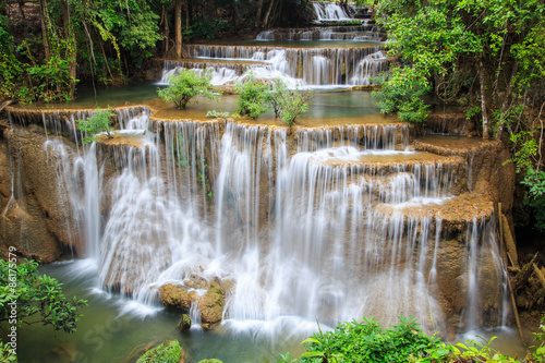 Plakat Huai Mae Khamin waterfall in deep forest, Thailand