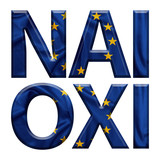 Yes and No written in Greek with E.U flag covered letters for the Greek referendum poster