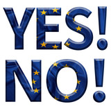 Yes and No written with E.U flag covered letters for the Greek referendum poster