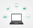 Vector digital marketing. Laptop with sample icons