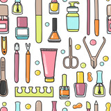 Vector seamless pattern of manicure and pedicure doodle equipmen