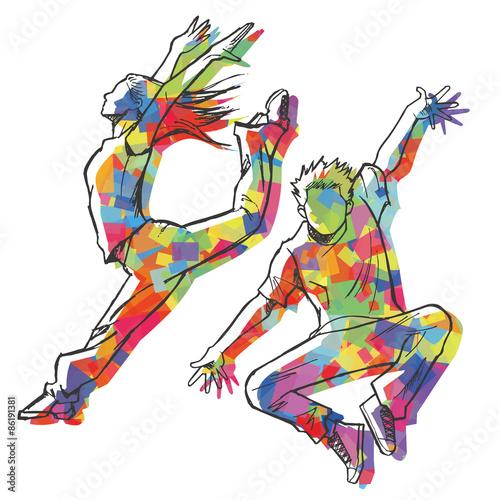 Fototapeta ジャズダンサーのスケッチ風(カラフルシルエット)