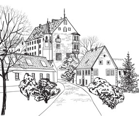 Old city street view. Medieval european castle landscape. Pencil drawn vector sketch