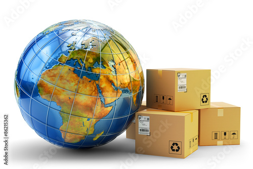 International package delivery concept, global purchases transportation business, stack of cardboard boxes and Earth globe isolated on white background