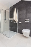 Shower cubicle in modern toilet - 86238177