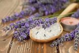Fototapety Sea salt with lavender