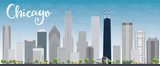 Fototapety Chicago city skyline with grey skyscrapers and blue sky