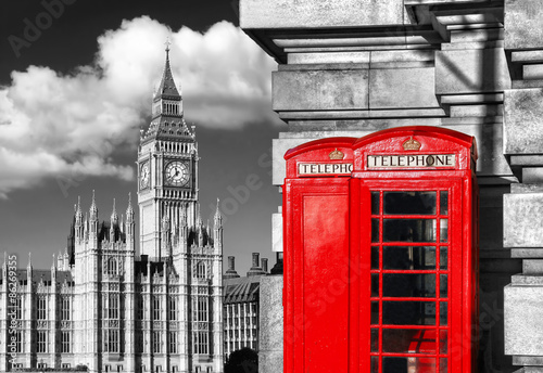 English red telephone booths with Big Ben in London, UK © samott
