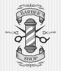 Barber pole,scissors and ribbon for text.