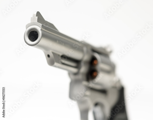 Poster Sm 357 Magnum Revolver isolated on White Shallow Focus