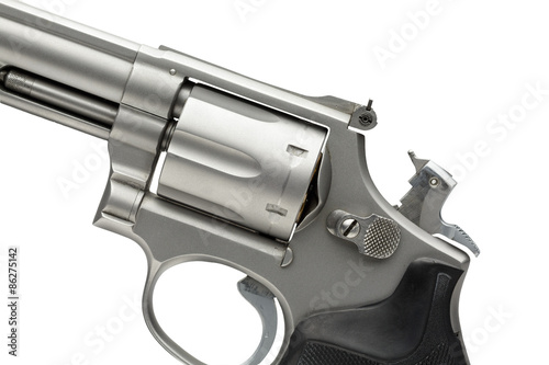 Poster 357 Magnum Revolver Cocked on White