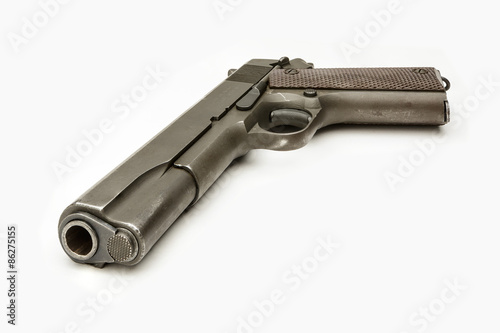 Poster WWII G.I. 1911A1 .45 Caliber Pistol isolated White
