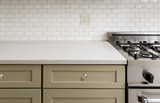 Fototapety Kitchen Counter with Subway Tile, Stainless Steel oven stove, Sh