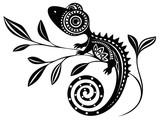 Lizard on a branch.pattern. Chameleon.tattoo.