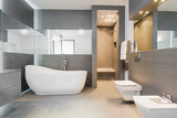 Freestanding bath in modern bathroom