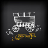 Stagecoach, covered wagon. Sketch vector design. poster